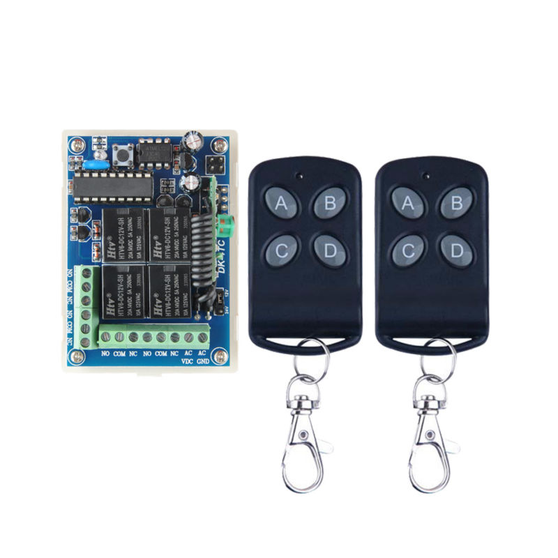 DC 12V 24V 10A Relay Wireless Remote Control Switch Receiver Transmitter Learning Normally Open/Closed Door Access Light LED new dc 12v 10a relay 1ch wireless remote control switch transmitter receiver for access control systems 2 wireless control