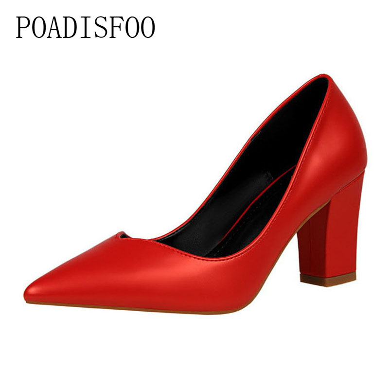 цена на POADISFOO 2018 women pumps Fashion Simple And Comfortable With high-heeled Shallow Pointed Pointed Hollow Shoes .PSDS-1069-5