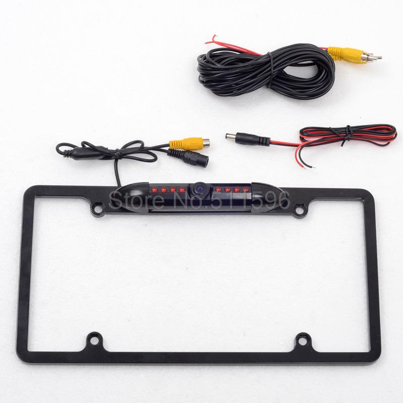 For HD Universal US American Car Number Plate Frame Park Camera Rearview Camera Night Vision Waterproof Black Rear View Back up
