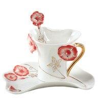 Color de Esmalte Taza de Café Juego de Té de Porcelana Tazas y Tazas Con Cuchara Creativa Drinkware Taza de La Mañana