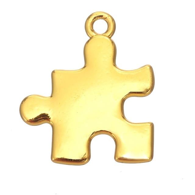 my shape Wholesale Gold Silver Color Single Puzzle Piece Jigsaw