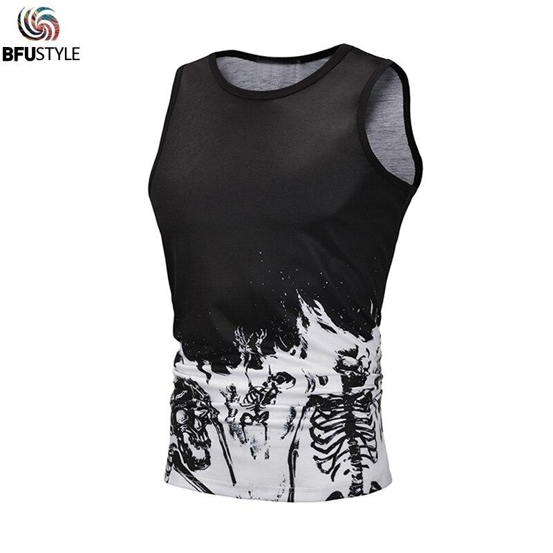 2019 Black Skull Skeleton   Tank     Tops   3D Summer Sleeveless Men's Vest Sportswear Hawaiian Shirt Undershirts Camisa Beach Vests EUR