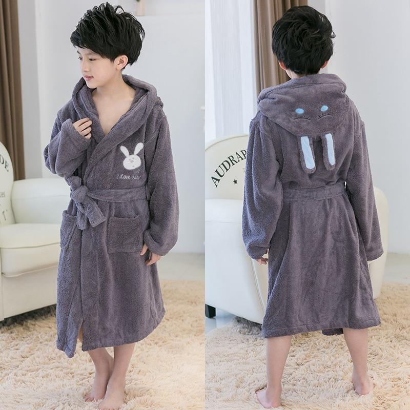 Peignoir de bain unisexe en coton pour enfants peignoir chaud pour enfants peignoir épais pour bébé Kimono à capuche serviette pyjama polaire robe de nuit