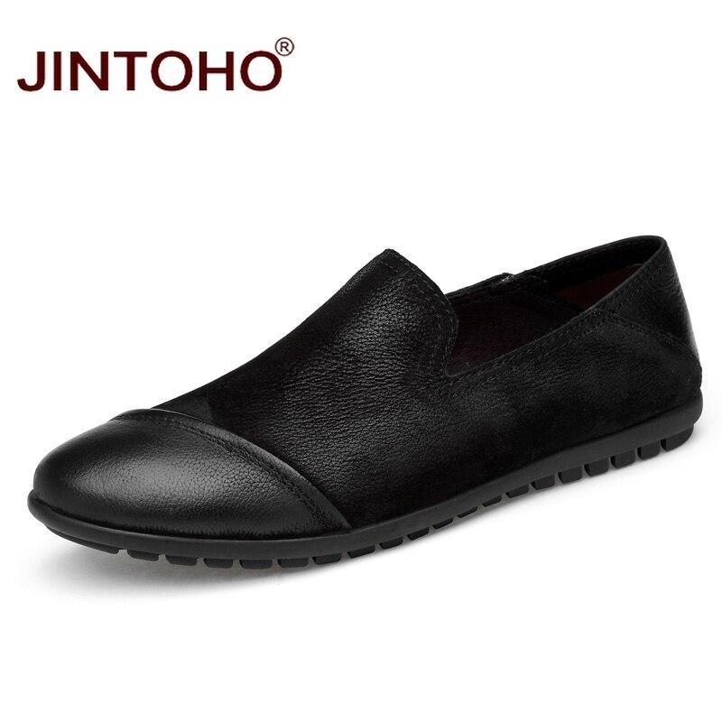 Sapatas Shoes Sapatos Luxo De Jintoho Do Barco Negros Couro Homens Genuína zong Grande Moda Dos Sobre Mocassins Deslizar Tamanho Marca Se Se Hei rw0vOr