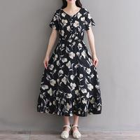 Mori Girl Sweet Dress 2018 New Summer Women Black Floral Print Retro Vintage Vestidos Female Short