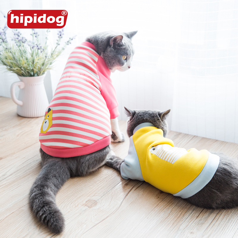 Hipidog Cat Stripe Black Letter Colthes Warm Autumn Pet Dog Chihuahua Clothes Summer Camisole Princess Dress T-shirt Clothing