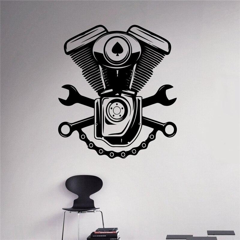 Engine Motor Wall Sticker Car Service Vinyl Sticker Home Interior Garage Decor Removable Decor Wall Art