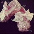 Румяна Розовые Rhinestons во всем потрясающие стразами свадебное случаю детская обувь балерины подарок для 0-12 М новорожденных принцесса