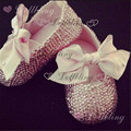 Blush Pink Rhinestons all over stunning strass wedding occasion baby shoes ballerina gift for 0-12M newborn princess