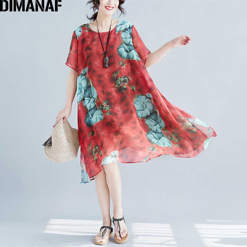 DIMANAF Women Dress Summer Plus Size A-Line Chiffon Beach Holiday Vestidos  Print Floral Red 8eb26f685c80