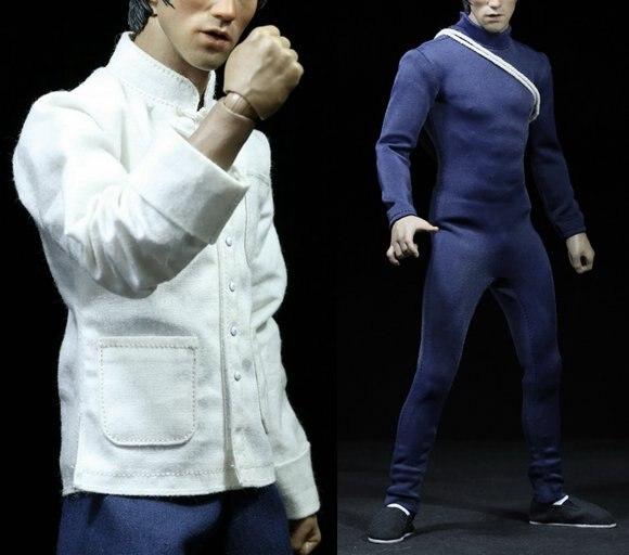 """1:6 skala mężczyzna rysunek akcesoria ubrania Bruce Lee garnitur + buty + kij dla 12 """"figurka lalka, nie obejmują głowy i ciała 2846 w Figurki i postaci od Zabawki i hobby na  Grupa 2"""