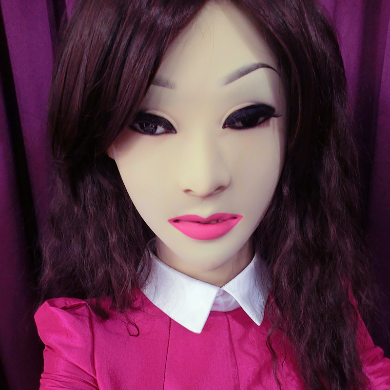 (femask)crossdress Soft Silicone Realistic Female/girl Face Full Head Sexy Dollmask Crossdresser Mask With Wig