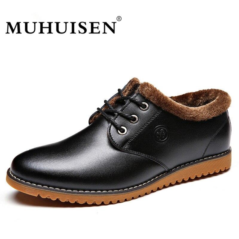MUHUISEN Winter Men Shoes Fashion Casual Plush Warm Fur Leather Boots Lace Up Flats Shoes Male Snow Boots Zapatos Hombre