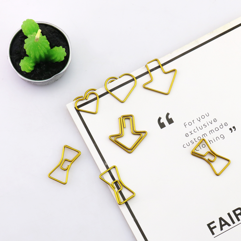 TUTU 50PCS/LOT Metal Material Bow Shape Paper Clip Gold Color Funny Kawaii Bookmark Office School Stationery Marking Clips H0037