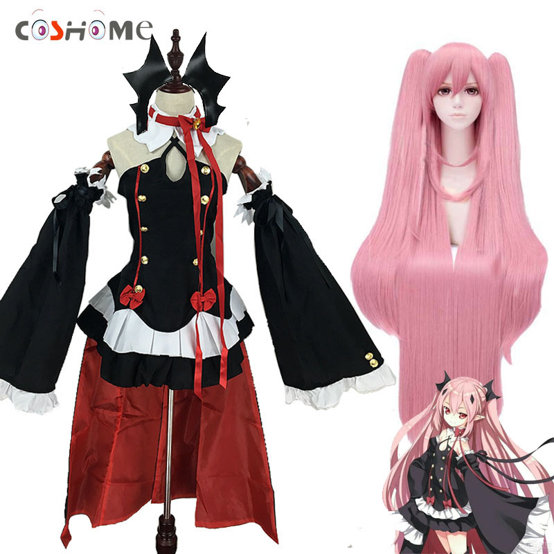 цена Coshome Owari No Seraph Of The End Krul Tepes Wigs Cosplay Costumes Lolita Dress Vampire Uniforms 6Pcs/Set For Halloween Party