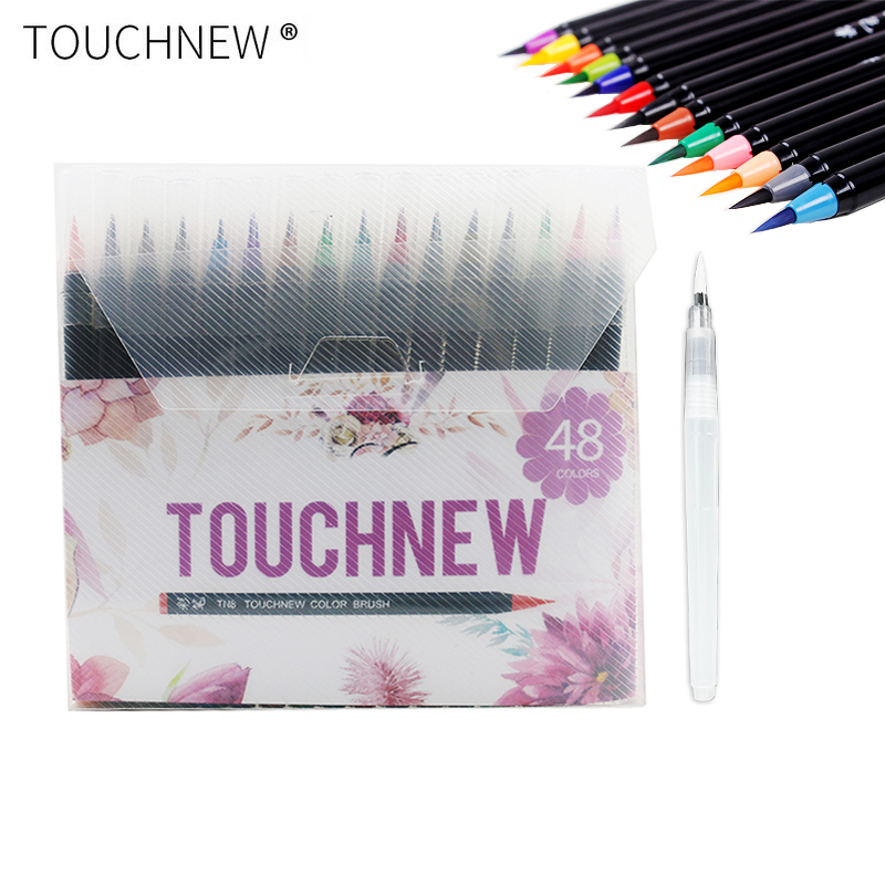 Touchnew 24 36 48 60 Colors Watercolor Markers Pen Premium Painting Soft Brush Marker Set For Drawing Manga Comic Art Supplies bianyo 20 colors artist sketch marker pen set for school student drawing painting brush pen watercolor manga marker art supplies