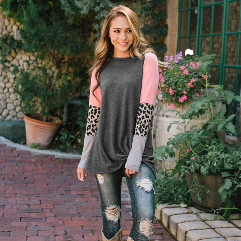 Patchwork Design T-Shirt Women Long Sleeve Round Neck Polo Shirt Fashion Spring Autumn Loose Comfortable Coat