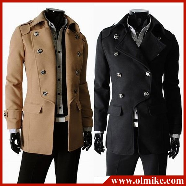 Online Shop Free shipping Double Breasted Jackets Men Long Coat ...