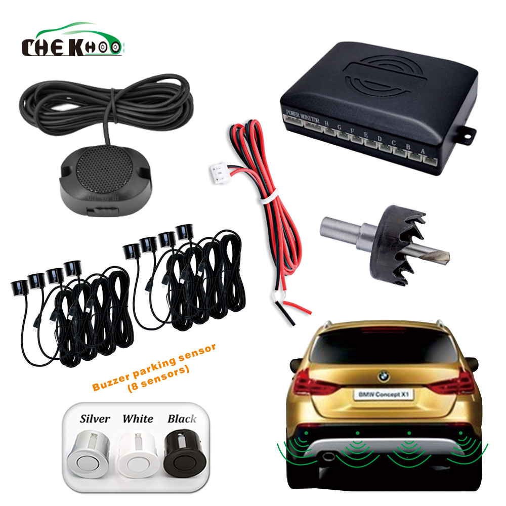 Car Parktronic Buzzer Parking Sensor With 8 Sensors Reverse Backup Car Parking Radar Monitor Detector System