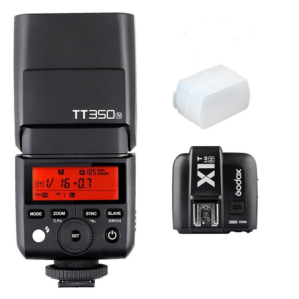 Nový příchod Godox TT350N Speedlite 2.4G HSS 1 / 8000s TTL GN36 Fotoaparát Flash Light + X1T-N Flash Trigger vysílač pro Nikon DSLR