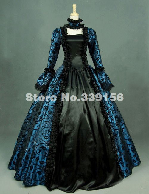 US $89 7 35% OFF|Brand New Blue Printed Brocade Renaissance Marie  Antoinette Victorian Dress Gown Party Steampunk Clothing Reenactment  Costume-in