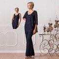 2017 Mulheres de Renda Azul Marinho Ternos Formais Pant Para As Mães Da Noiva Personalizado Plus Size Mãe Do Noivo/Mãe vestidos