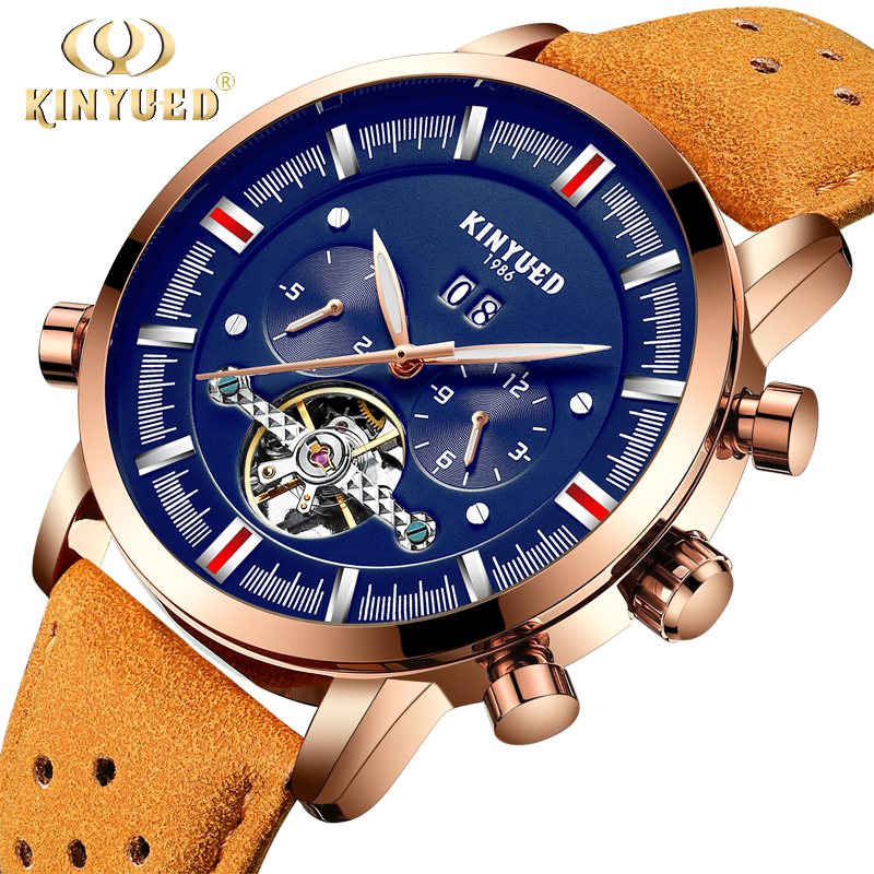 KINYUED Mens Top Brand Mechanical Watches Luxury Perpetual Tourbillon Automatic Watch Men Skeleton Calendar Relogio Masculino shenhua automatic mechanical tourbillon watches men top brand luxury leather band transparent skeleton watch relogio masculino