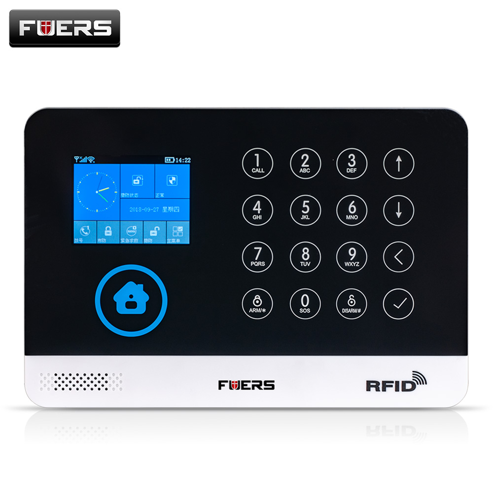 Image 5 - FUERS WIFI GSM  Alarm System Wireless Home Burglar Security Alarm 9 LNG Switchable RFID LCD PIR Smoke Sensor APP Control-in Alarm System Kits from Security & Protection
