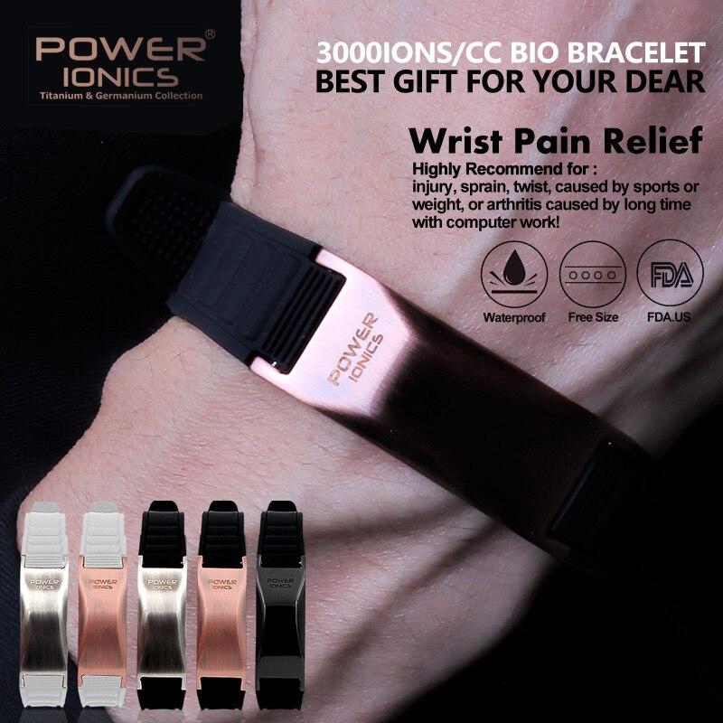 Power Ionics Classic Style Sports Titanium Bracelet Wristband Balance Human Body PT002 PT002Plus