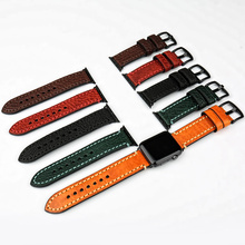 MAIKES Genuine Leather Watch Strap Black For Apple 42mm 38mm