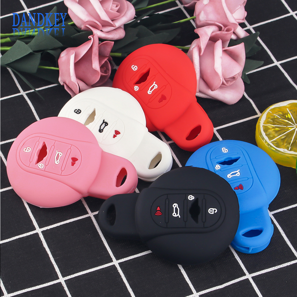 Dandkey 4 Buttons Silicone Car Key Cover Case <font><b>Holder</b></font> Skin For BMW <font><b>Mini</b></font> Cooper S R50 R53 F54 F55 <font><b>F56</b></font> F60 Smart Key Car Styling image