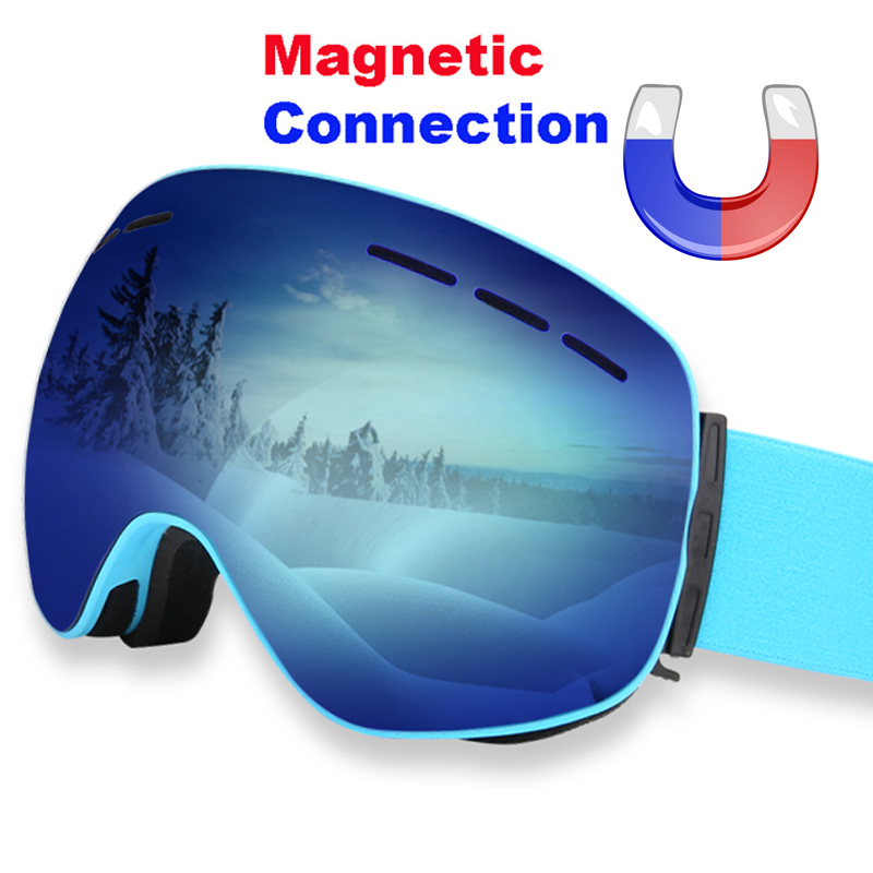 Magnetic Ski Goggles Double Layers Anti fog UV 400 Ski Glasses Men Women Skiing Snowboard Skateboard Snow Goggles Ski Mask