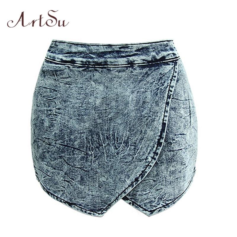 ArtSu Short Jeans Women Summer Mini Denim Shorts Sexy Mujer 2017 Hippie Criss-Cross High Waist Skirt Culottes Clothing ASSH50007