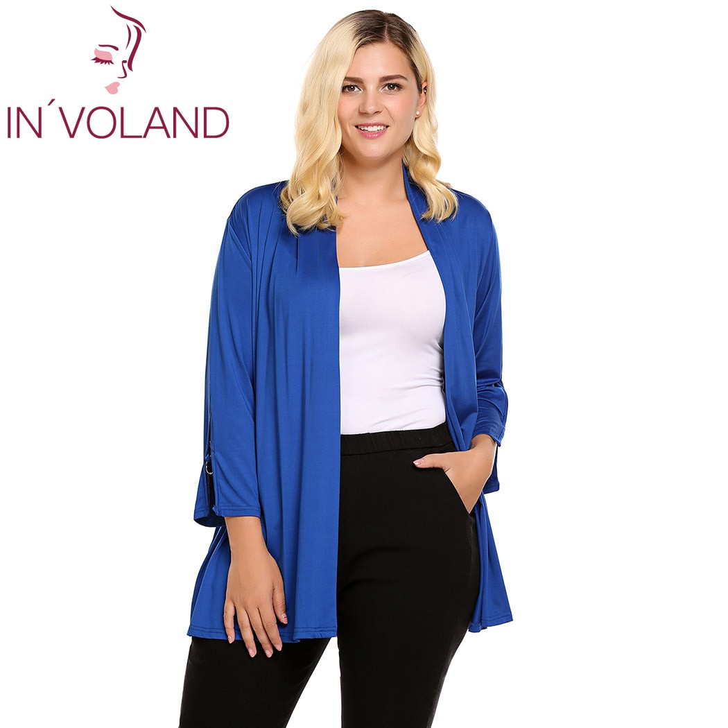 IN'VOLAND Women's Cardigan Autumn Plus Size 3/4 Split Sleeve Grommet Solid Open Front LLoose Ladies Cardigans Oversized 5XL