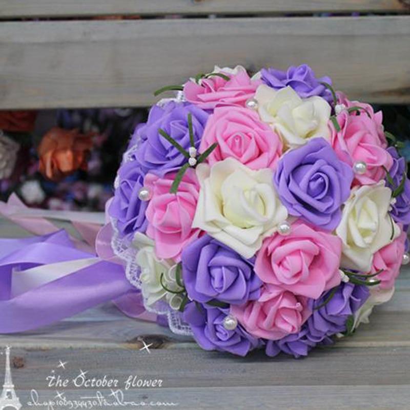 Image 2 - Cheap Korean bride holding flowers bridesmaids holding flowers simulation Rose bridal bouquet ramos de noviaramos de noviahold flowerrose bridal bouquet -