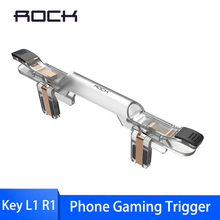 ROCK Gamepad Joystick For PUBG Gaming Trigger Smart Fire Button Aim Trigger Key L1R1 Shooter Controller For Mobile Phone Game k9 mobile phone game joystick gamepad fire trigger button for pubg smartphone gaming aim key l1r1 shooter game controller