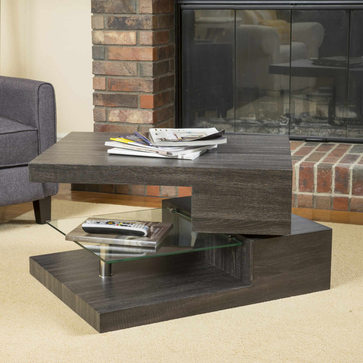 Bushwick Rectangular Rotating Wood Coffee Table ...
