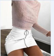 Seksowne kobiety moda Wysoka talia zip faux Leather krótki ołówek BODYCON mini spódnica 2017 Nowa solidna biała spódnica tanie tanio Seksowny klub Imperium Powyżej kolana mini hirigin Sztuczna skóra Brak Stałe