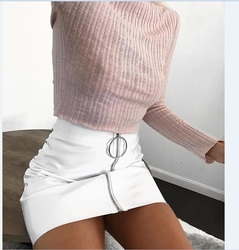 c4bff2053 Sexy Women Fashion High Waist Zip Faux Leather Short Pencil Bodycon Mini  Skirt 2017 New Solid