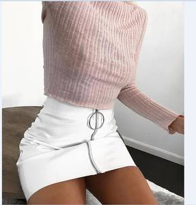 White Skirt Short Pencil Faux-Leather Bodycon Sexy High-Waist Women Fashion Solid Zip
