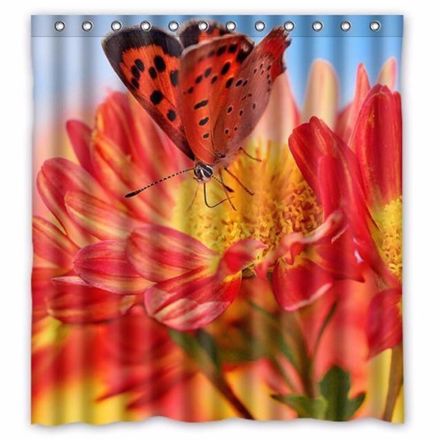 Badvorhange Design | Natur Schmetterling Rote Blume Kundenspezifische Design Bad Vorhange