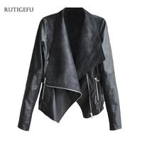 Nuevo Otoño Mujeres de la chaqueta locomotora chaqueta de cremallera Oblicua irregular solapa grande de manga larga de la pu de la chaqueta de cuero ocasional de la capa S-4XL