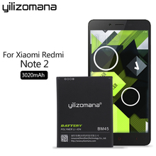 YILIZOMANA Phone Battery BM45 For Xiaomi RedMi Note 2 Hongmi Red Rice Note2 3020mAh Replacement Batteries
