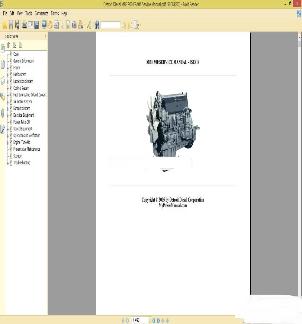 Detroit Diesel MBE 900 Training Center Support Documentation