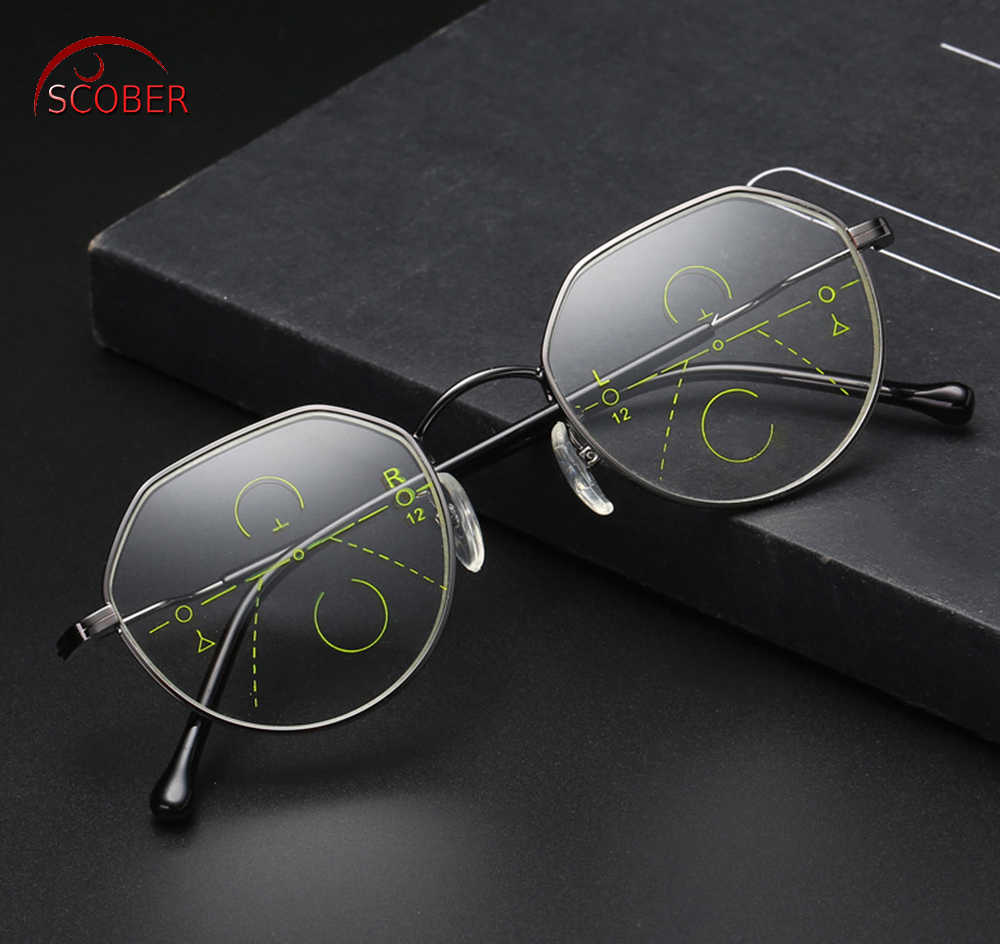 SCOBER = Retro fashion Polygon frame Intelligence Progressive Multifocal Commercial Reading Glasses Bifocal +1 +1.5 +2 TO +4
