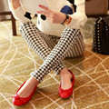 Мода Полиэстер Упругие Девять Брюки Леггинсы Вертикальные Полосы Тонкий Стретч для Женщин Женский