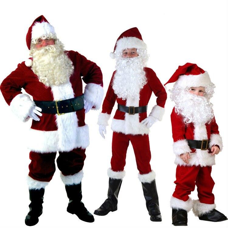 Mens Adult Boy Kids Santa Claus Father Christmas Costumes Suit Xmas ...