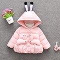 2016 горячие продажа зима теплая удобная верхняя одежда для младенцев и малышей мультфильм кролик shaped детские одежду носить снег