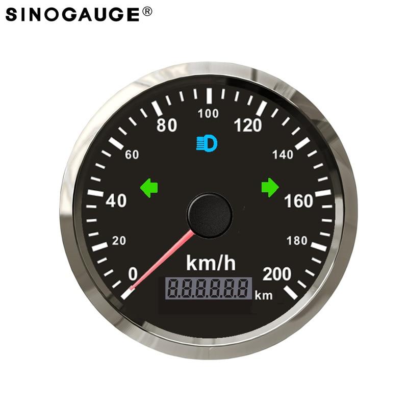Universal 85mm GPS Speedometer Stainless IP67 Waterproof Kus Gauge 200km/h kph 125km/h mph for Car Truck 12V 24V