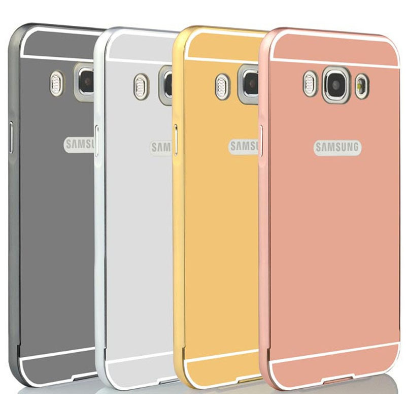 For Samsung J5 2016 Case Mirror Plating Aluminum Metal Bumper Acrylic Alloy Plastic Back Cover For Samsung Galaxy J5 2016 Case